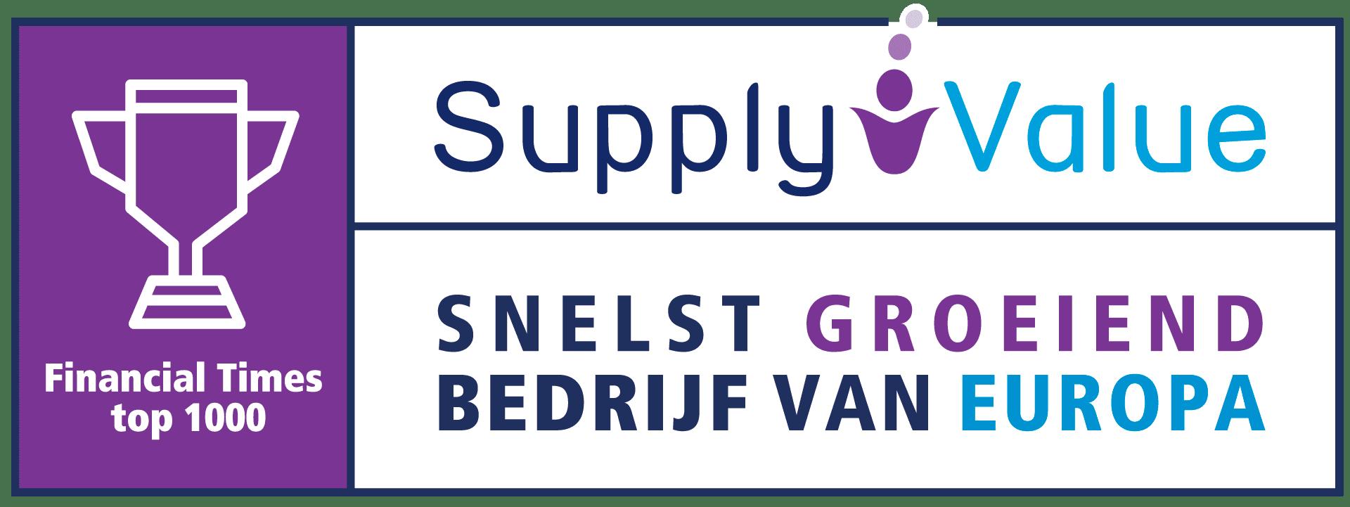 Supply Value in de top 1000 snelst groeiende bedrijven van Europa